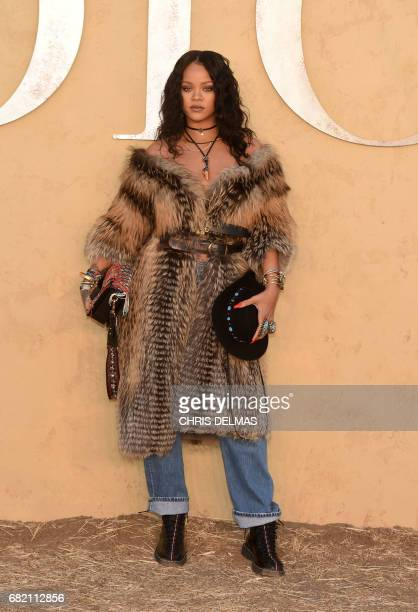 Singer Rihanna arrives for the first cruise collection by Maria Grazia Chiuri for Dior show in the Upper Las Virgenes Canyon Calabasas California on...