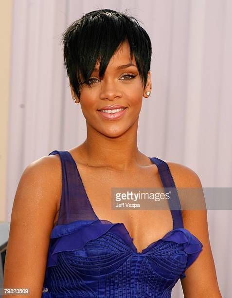 Singer Rihanna arrives to the 50th Annual GRAMMY Awards at the Staples Center on February 10 2008 in Los Angeles California