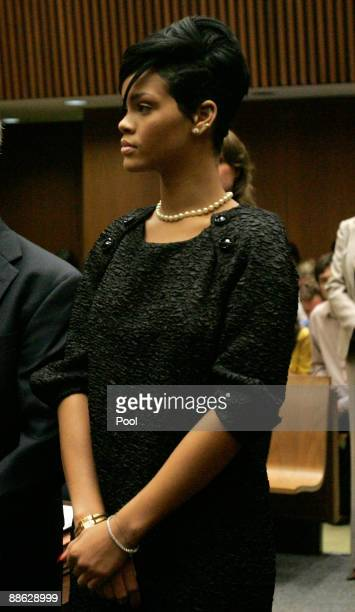 Singer Rihanna attends a preliminary hearing at Superior Court of Los Angeles County on June 23 2009 in Los Angeles California The preliminary...
