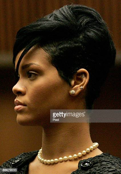 Singer Rihanna attends a preliminary hearing at Superior Court of Los Angeles County on June 23, 2009 in Los Angeles, California. The preliminary...