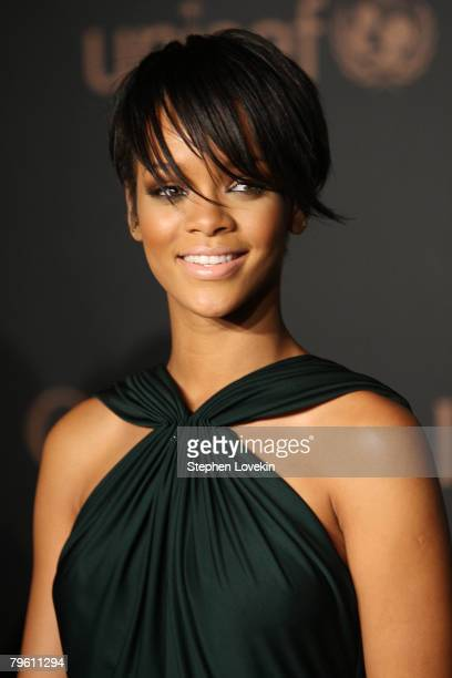 Singer Rihanna attends a reception to benefit UNICEF hosted by Gucci during Mercedes-Benz Fashion Week Fall 2008 at The Salon at Bryant Park on...