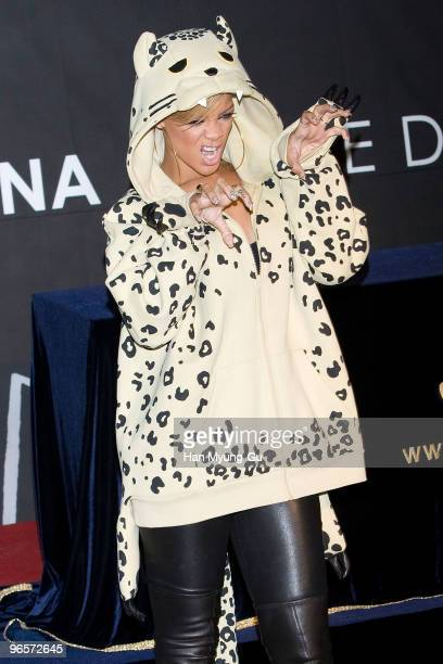 Singer Rihanna attends an autograph signing to promote her latest album ''Rated R' at Coex mall on February 11 2010 in Seoul South Korea