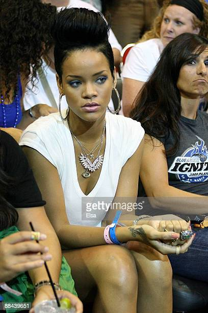 Singer Rihanna attends Game Four of the 2009 NBA Finals between the Los Angeles Lakers and the Orlando Magic on June 11 2009 at Amway Arena in...