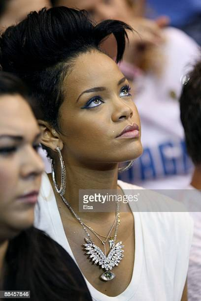 Singer Rihanna attends Game Four of the 2009 NBA Finals between the Los Angeles Lakers and the Orlando Magic at Amway Arena on June 11 2009 in...