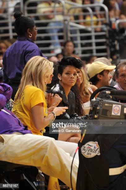 Singer Rihanna attends Game Two of the 2009 NBA Finals between the Los Angeles Lakers and the Orlando Magic at Staples Center on June 7 2009 in Los...