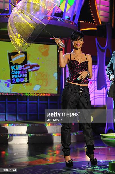 Singer Rihanna attends Nickelodeon's 2008 Kids' Choice Awards on March 29 2008 at the Pauley Pavilion in Los Angeles California