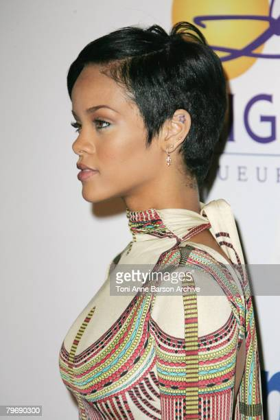 Singer Rihanna attends the 2008 Clive Davis PreGRAMMY party at the Beverly Hilton Hotel on February 9 2008 in Los Angeles California