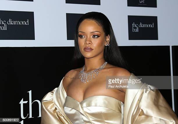 Singer Rihanna attends the 2nd Annual Diamond Ball at The Barker Hanger on December 10 2015 in Santa Monica California