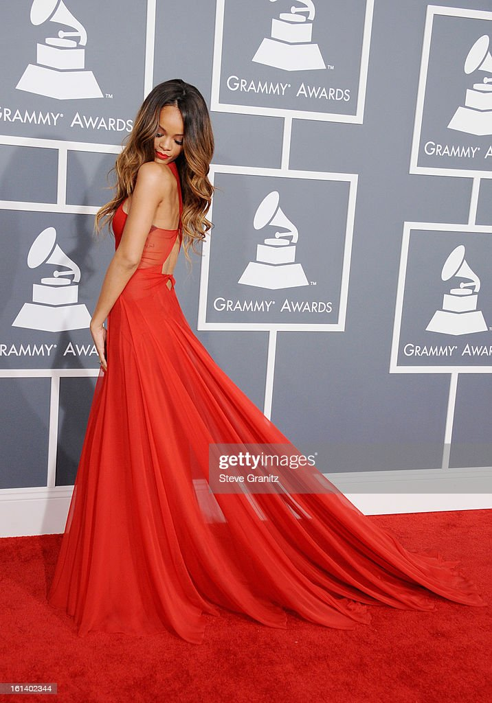 Singer Rihanna attends the 55th Annual GRAMMY Awards at STAPLES Center on February 10, 2013 in Los Angeles, California.