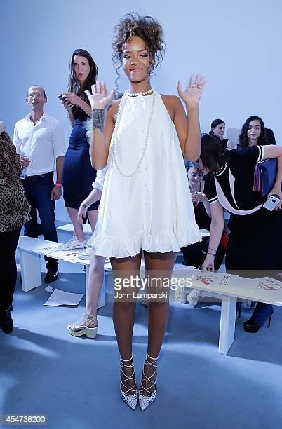 Singer Rihanna attends the Adam Selman Presentation MercedesBenz Fashion Week Spring 2015 at Algus Greenspon Gallery on September 5 2014 in New York...