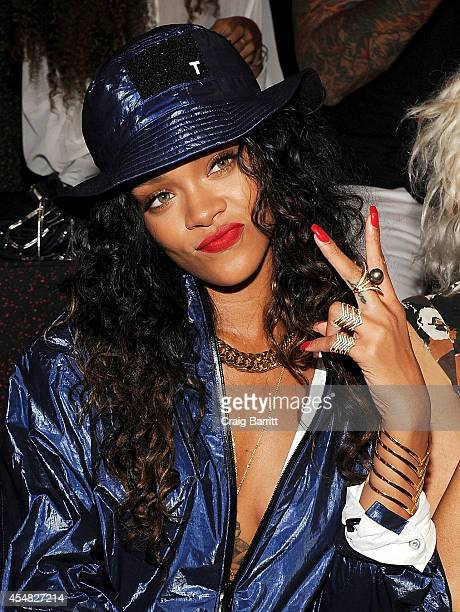 Singer Rihanna attends the Alexander Wang fashion show during MercedesBenz Fashion Week Spring 2015 at Pier 94 on September 6 2014 in New York City
