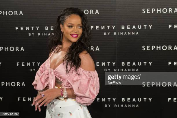 Singer Rihanna attends the 'Fenty Beauty' photocall at Callao cinema on September 23 2017 in Madrid Spain
