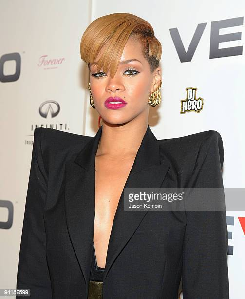 Singer Rihanna attends the launch of EVO a musicvideo website at Skylight Studio on December 8 2009 in New York City