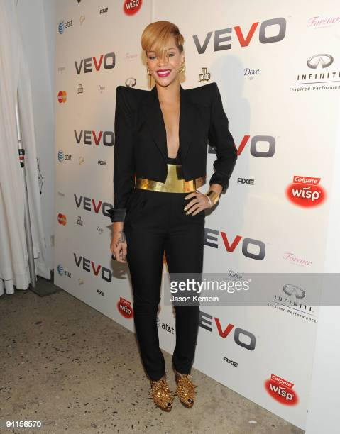 Singer Rihanna attends the launch of VEVO a musicvideo website at Skylight Studio on December 8 2009 in New York City