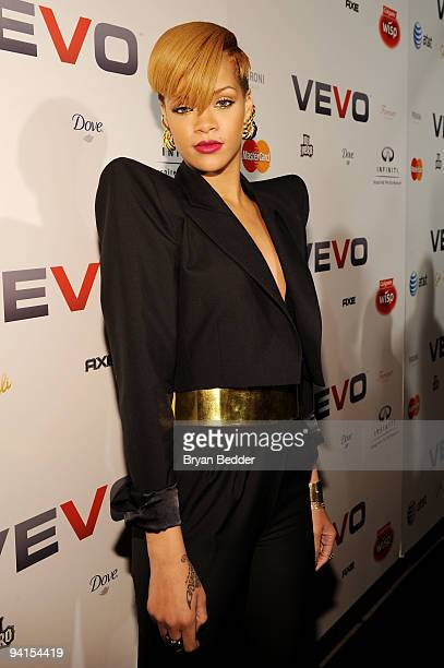 Singer Rihanna attends the launch of VEVO the world's premiere destination for premium music video and entertainment at Skylight Studio on December 8...