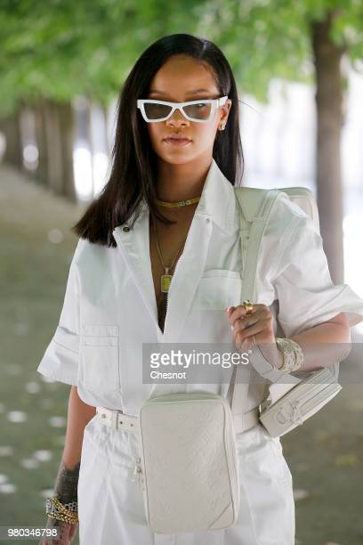 Singer Rihanna attends the Louis Vuitton Menswear Spring/Summer 2019 show as part of Paris Fashion Week on June 21, 2018 in Paris, France.