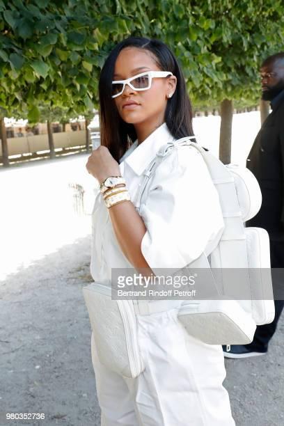 Singer Rihanna attends the Louis Vuitton Menswear Spring/Summer 2019 show as part of Paris Fashion Week on June 21 2018 in Paris France
