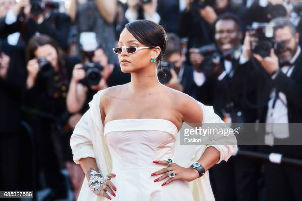 Singer Rihanna attends the Okja screening during the 70th annual Cannes Film Festival at Palais des Festivals on May 19 2017 in Cannes France