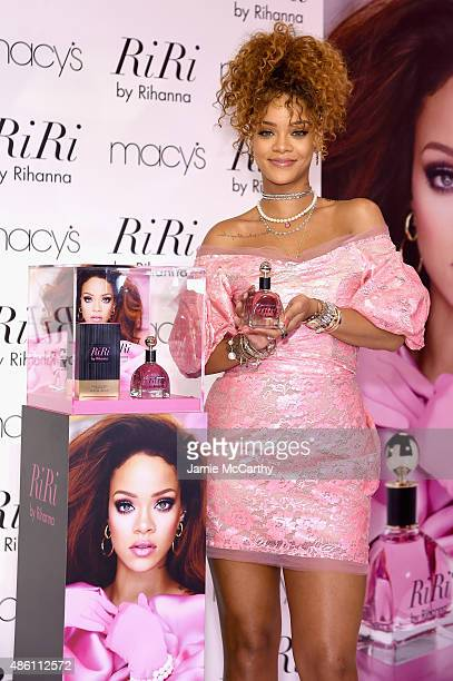 Singer Rihanna attends the RiRi by Rihanna fragrance unveiling at Macy's Downtown Brooklyn on August 31 2015 in New York City