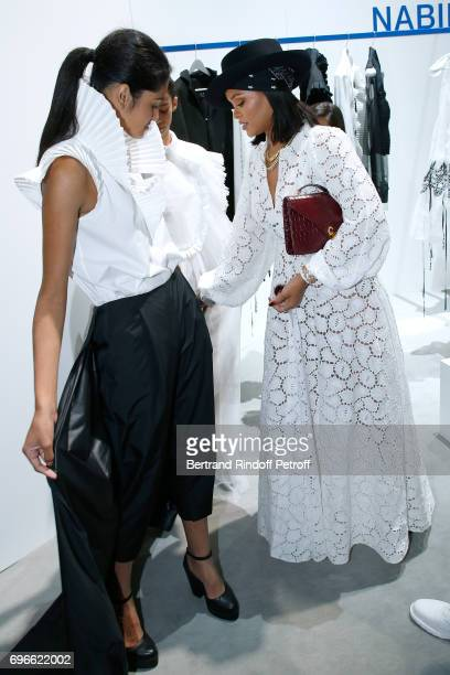 Singer Rihanna attends the Young Fashion Designer LVMH Prize 2017 Edition at Fondation Louis Vuitton on June 16 2017 in Paris France
