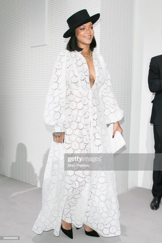 Singer Rihanna attends the 'Young Fashion Designer': LVMH Prize 2017 edition at Fondation Louis Vuitton on June 16, 2017 in Paris, France.