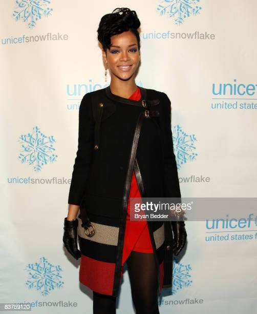 Singer Rihanna attends UNICEF's 2008 Snowflake Lighting at Grand Army Plaza on November 19 2008 in New York City