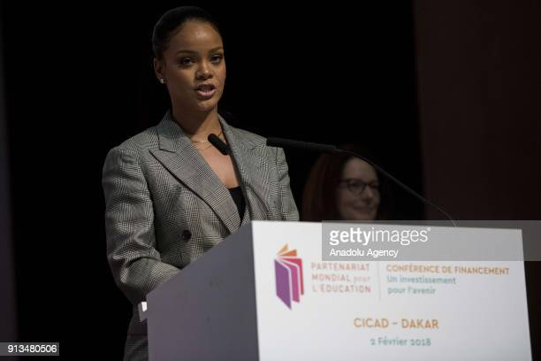 Singer Rihanna delivers a speech during the Global Partnership for Education conference in Dakar Senegal on February 2 2018