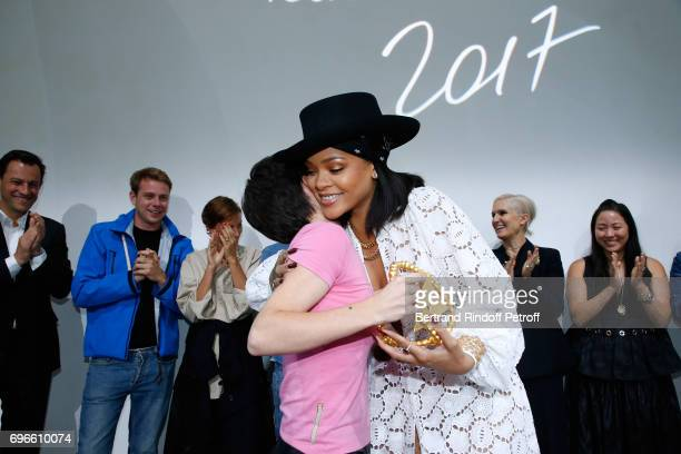 Singer Rihanna gives the price to the Winner of the Young Fashion Designer LVMH Prize 2017 Stylist Marine Serre during the Young Fashion Designer...
