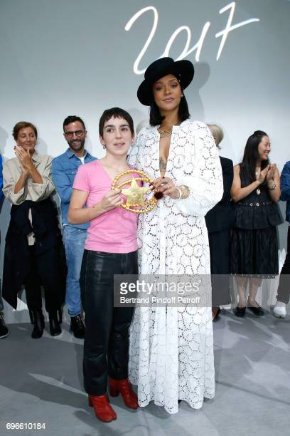 "Singer Rihanna gives the price to the Winner of the ""Young Fashion Designer"" LVMH Prize 2017, Stylist Marine Serre during the ""Young Fashion..."