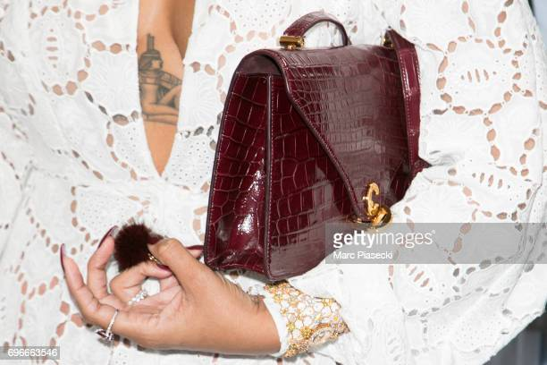 Singer Rihanna handbag detail attends the 'Young Fashion Designer' LVMH Prize 2017 edition at Fondation Louis Vuitton on June 16 2017 in Paris France