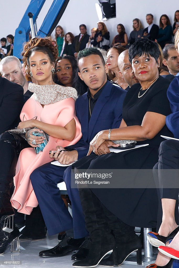 Singer Rihanna, her Brother and her Mother attend the Christian Dior show as part of the Paris Fashion Week Womenswear Spring/Summer 2016. Held at Cour Carre du Louvre on October 2, 2015 in Paris, France.