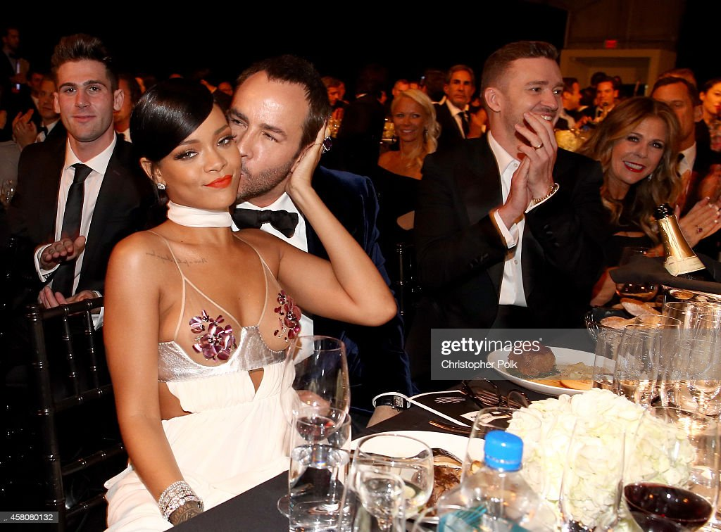 Singer Rihanna, Honoree Tom Ford, singer/actor Justin Timberlake, and actress Rita Wilson attend amfAR LA Inspiration Gala honoring Tom Ford at Milk Studios on October 29, 2014 in Hollywood, California.