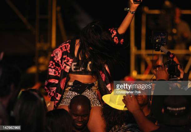 Singer Rihanna in the audience during day 3 of the 2012 Coachella Valley Music Arts Festival at the Empire Polo Field on April 15 2012 in Indio...