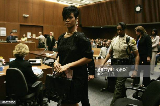 Singer Rihanna inside the Los Angeles Superior Court during the hearing in the Chris Brown felony assault case on June 22 2009 The incident shocked...