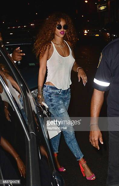 Singer Rihanna is seen coming out of '1 oak club' on August 12 2015 in New York City