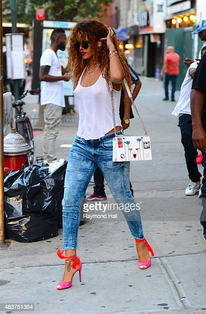 Singer Rihanna is seen coming out of Coppelia restaurant in Soho on August 12 2015 in New York City