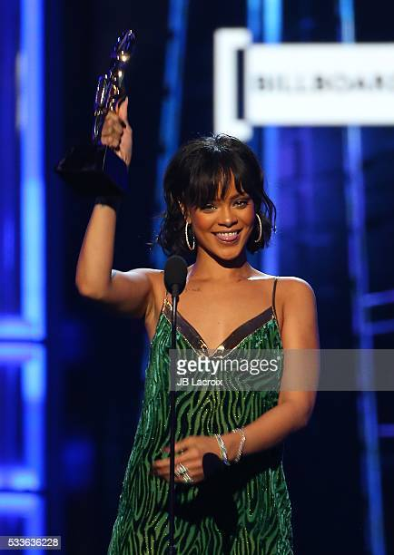 Singer Rihanna is seen on stage during the 2016 Billboard Music Awards held at the TMobile Arena on May 22 2016 in Las Vegas Nevada
