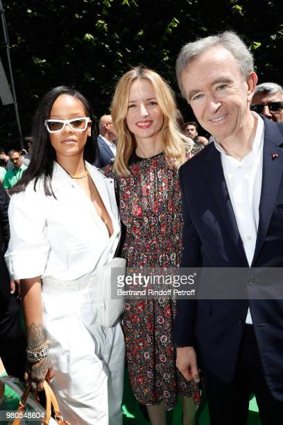 Singer Rihanna, Louis Vuitton's executive vice president Delphine Arnault and Owner of LVMH Luxury Group Bernard Arnault attend the Louis Vuitton...