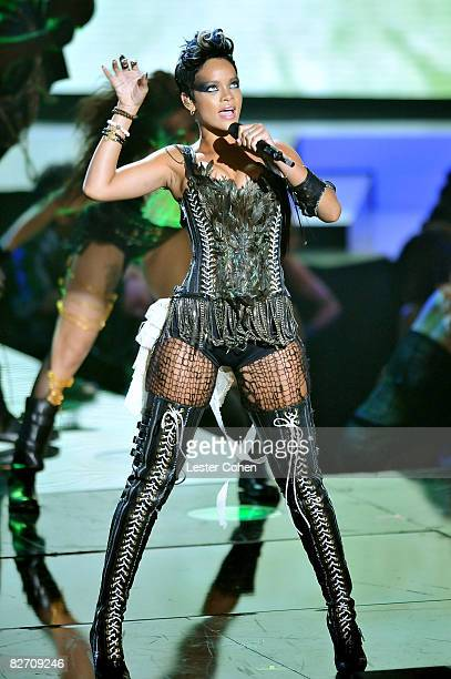 Singer Rihanna on stage at the 2008 MTV Video Music Awards at Paramount Pictures Studios on September 7 2008 in Los Angeles California