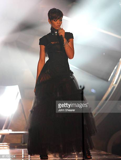 Singer Rihanna on stage during the 2008 BET Awards at the Shrine Auditorium on June 24 2008 in Los Angeles California