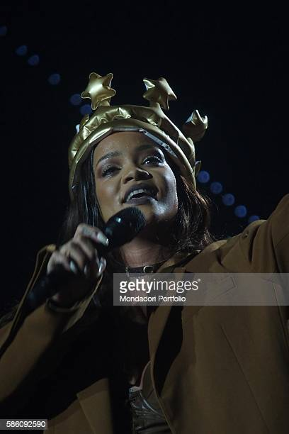 Singer Rihanna performing at the PalaAlpitour during a leg of her Anti World Tour Turin Italy 11th July 2016