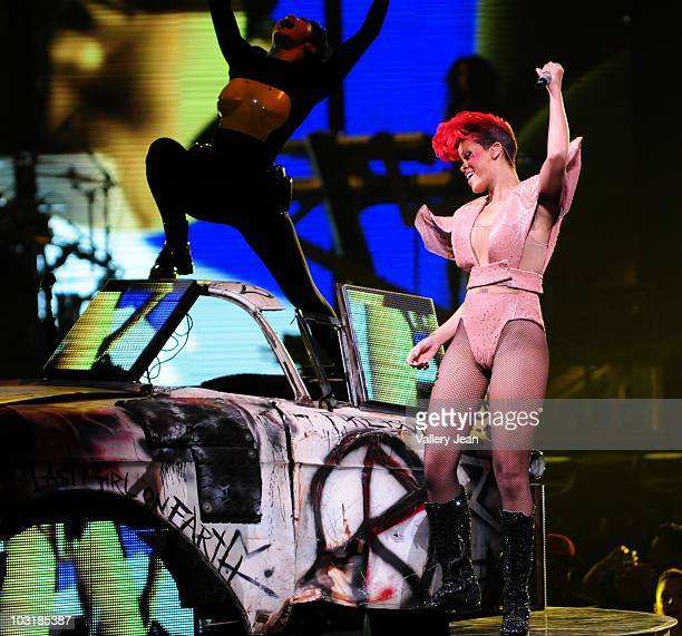 Singer Rihanna performs at American Airlines Arena on July 31 2010 in Miami Florida