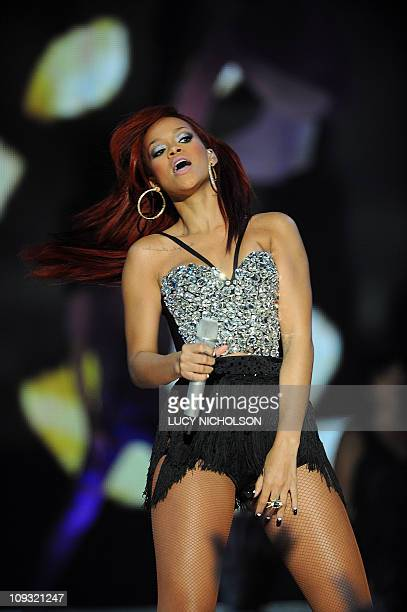 US singer Rihanna performs at an NBA AllStar basketball game on February 20 2011 part of NBA AllStar Weekend at Staples Center in Los Angeles...