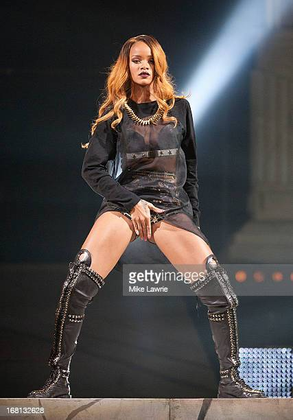 Singer Rihanna performs at Barclays Center on May 5 2013 in the Brooklyn burough of New York City