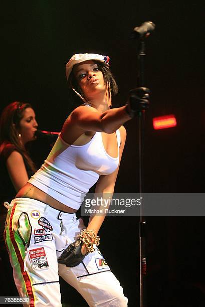 Singer Rihanna performs at California Speedway's Running Wide Open in Hollywood event at Avalon on August 29 2007 in Hollywood California