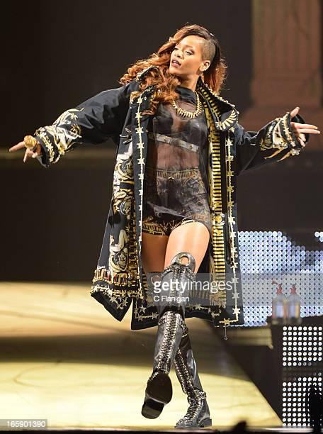 Singer Rihanna performs at HP Pavilion on April 6, 2013 in San Jose, California.
