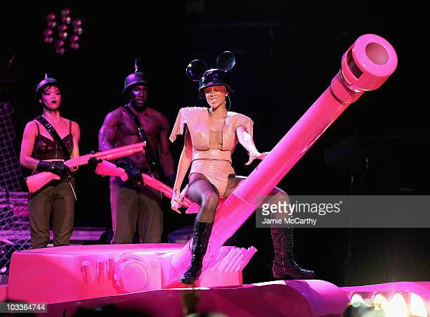Singer Rihanna performs at Madison Square Garden on August 12 2010 in New York City