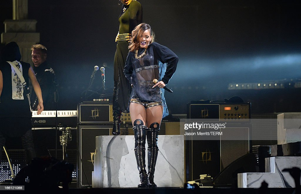 Singer Rihanna performs at Staples Center on April 8, 2013 in Los Angeles, California.