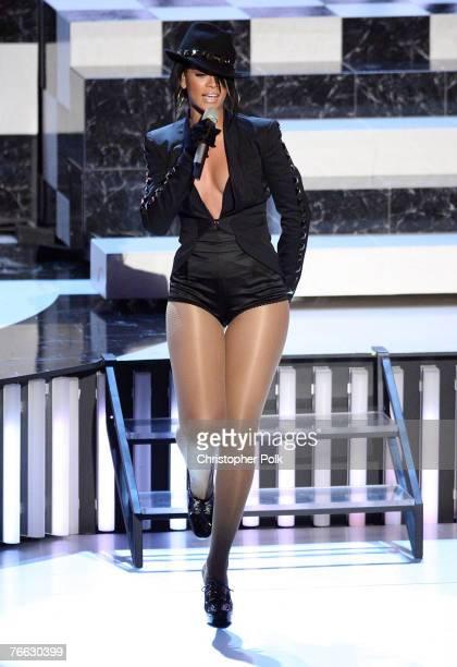 Singer Rihanna performs at the 2007 MTV Video Music Awards at the Palms Casino Resort on September 9 2007 in LasVegas Nevada