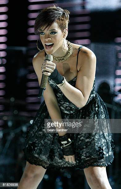 Singer Rihanna performs at the Louisiana Superdome during the 2008 Essence Music Festival on July 4 2008 in New Orleans Louisiana